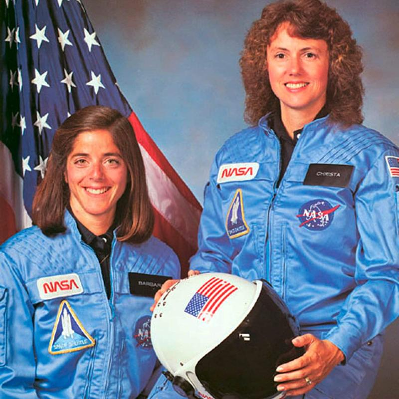 Challenger astronaut - and teacher - Christa McAuliffe (right) with her back-up astronaut Barbara Morgan, in 1986 - Reuters