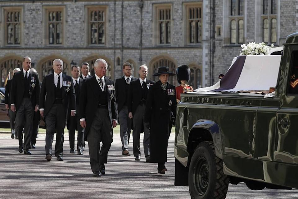 Prince Philip Funeral, Prince Charles, Princess Anne, Prince Andrew. Prince Edward, Prince William, Peter Phillips, Prince Harry