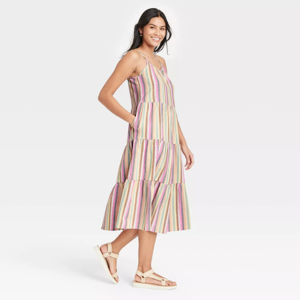 Universal Thread Striped Tiered Sleeveless Dress in Multicolor
