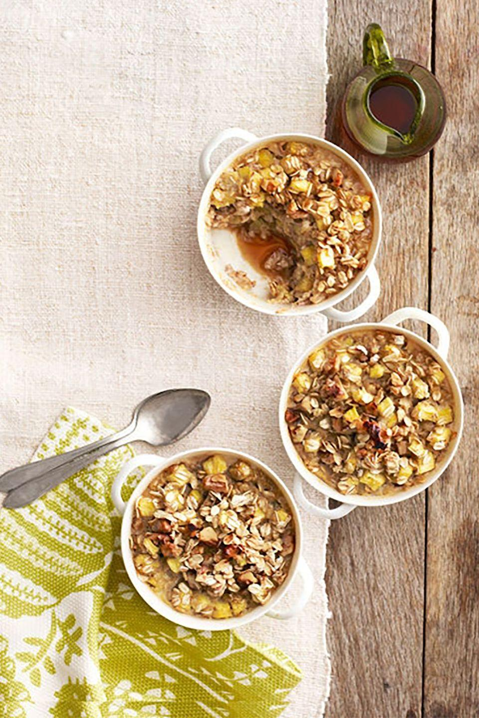 """<p>Zesty ginger and juicy pineapple give basic oatmeal an unexpected flair.</p><p><strong><a href=""""https://www.countryliving.com/food-drinks/recipes/a4779/pineapple-ginger-walnut-oatmeal-recipe-clv0314/"""" rel=""""nofollow noopener"""" target=""""_blank"""" data-ylk=""""slk:Get the recipe"""" class=""""link rapid-noclick-resp"""">Get the recipe</a>.</strong></p>"""