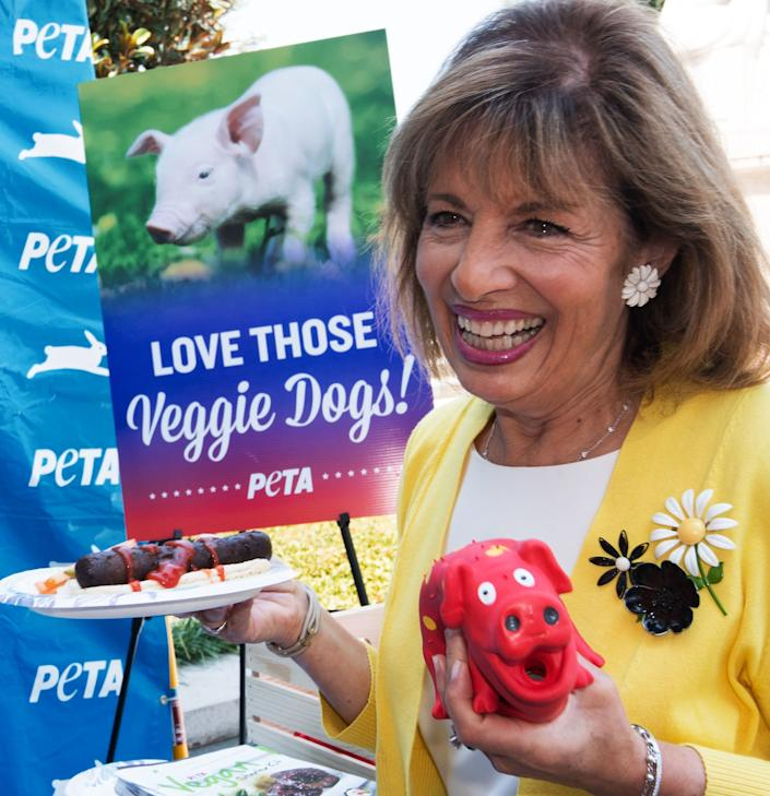 Rep. Jackie Speier (D-Calif.) visits the People for the Ethical Treatment of Animals veggie dog giveaway on July 19, 2017, countering a National Hot Dog Day event being held elsewhere on Capitol Hill.