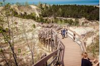"""<p><a href=""""https://www.nps.gov/indu/index.htm"""" rel=""""nofollow noopener"""" target=""""_blank"""" data-ylk=""""slk:Indiana Dunes National Park"""" class=""""link rapid-noclick-resp""""><strong>Indiana Dunes National Park</strong></a></p><p>Formerly a National Lakeshore, this 15 mile stretch along Lake Michigan got an upgrade in 2019 to National Park. There are many ways to get to the lake, but the wooden staircases that safely traverse the dunes are the most fun (and exhausting). </p>"""