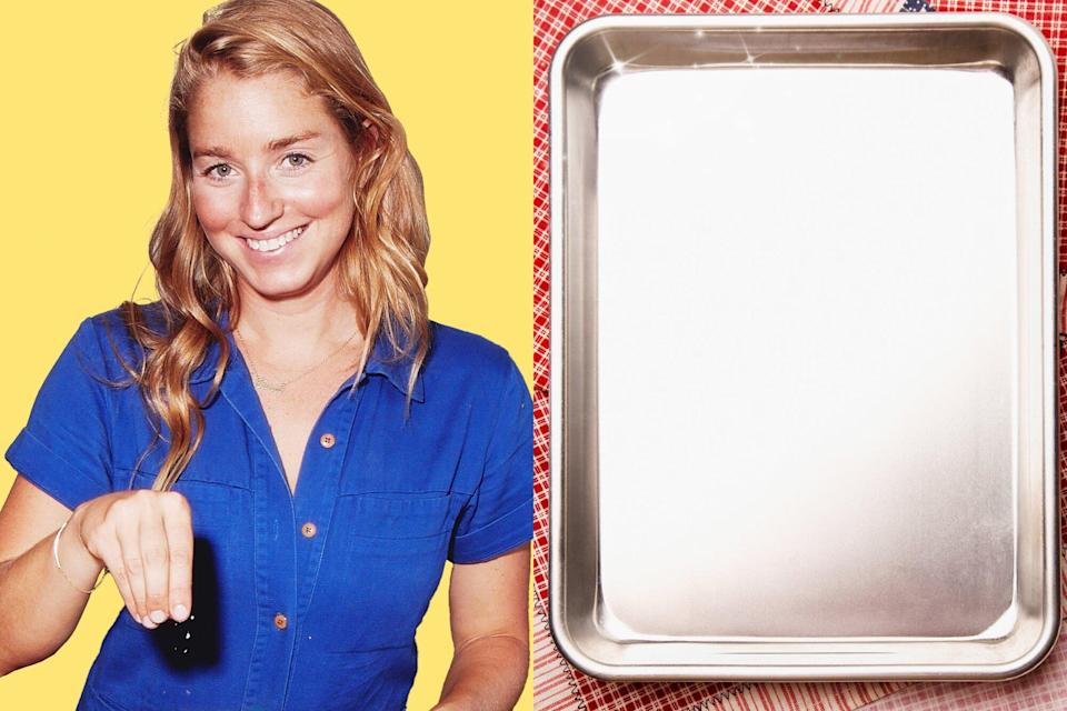 A portrait of Molly Baz next to a sparkling clean baking sheet