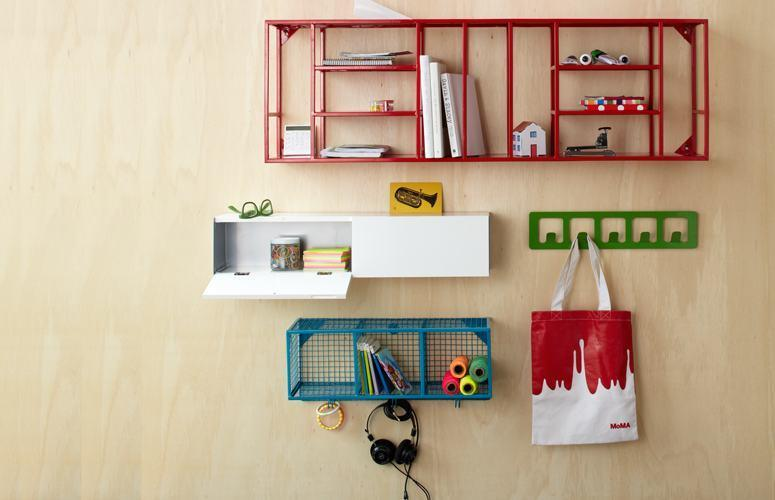 """<div class=""""caption-credit""""> Photo by: etsy.com</div><b>In: Hanging Shelves.</b> For those odds and ends (knick knacks not plates) there's space-saving hooks and colorful shelves that double as decoration and cater to any oddly shaped apartment out there."""