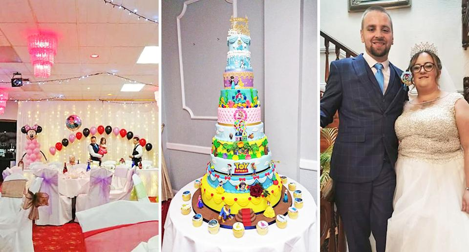Disney wedding: Siobhan and Sean bonded over their love of Disney films. [Photo: Caters]
