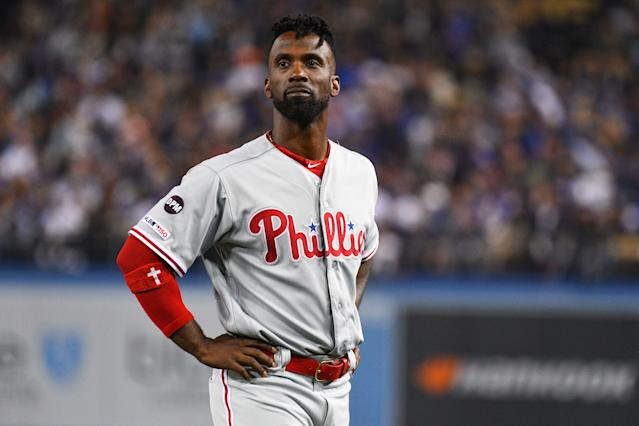 """<a class=""""link rapid-noclick-resp"""" href=""""/mlb/players/7977/"""" data-ylk=""""slk:Andrew McCutchen"""">Andrew McCutchen</a> injured his knee while attempting to run back to first base in the first inning against the <a class=""""link rapid-noclick-resp"""" href=""""/mlb/teams/san-diego/"""" data-ylk=""""slk:Padres"""">Padres</a> on Monday night. (Brian Rothmuller/Getty Images)"""