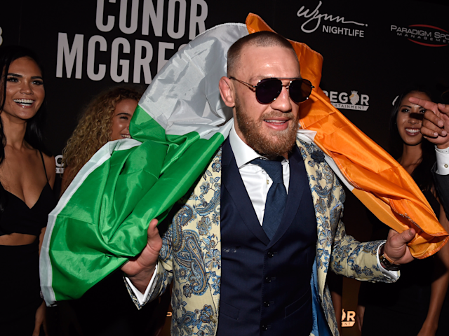 """<a href=""""https://sports.yahoo.com/conor-mcgregor-scolded-referee-ufc-fight-night-event-232324767.html"""" data-ylk=""""slk:Conor McGregor was scolded by referee Marc Goddard;outcm:mb_qualified_link;_E:mb_qualified_link"""" class=""""link rapid-noclick-resp"""">Conor McGregor was scolded by referee Marc Goddard</a> during teammate Artem Lobov's fight Saturday. (Getty file photo)"""