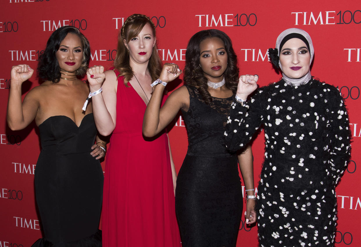 Women's March leaders Carmen Perez, left, Bob Bland, Tamika Mallory and Linda Sarsour attend the Time 100 Gala, celebrating the 100 most influential people in the world, in April 2017 in New York. (Photo: Charles Sykes/Invision/AP)