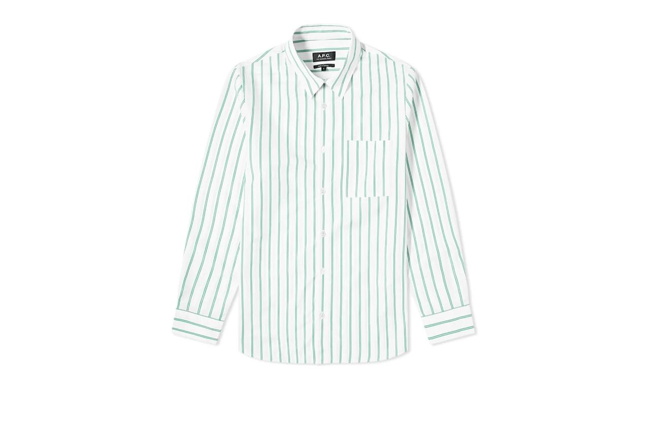 "$200, End Clothing. <a href=""https://www.endclothing.com/us/a-p-c-rami-stripe-shirt-coech-h12439-kaa.html"">Get it now!</a>"