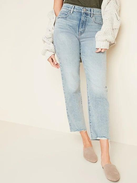 <p>There's just something about light-wash denim and these <span>Old Navy Extra High-Waisted Sky-Hi Straight Raw-Hem Jeans for Women</span> ($40, originally $50) are no exception.</p>