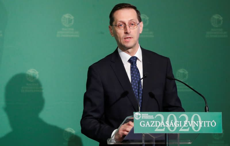 Hungarian Finance Minister Mihaly Varga speaks during a business conference in Budapest