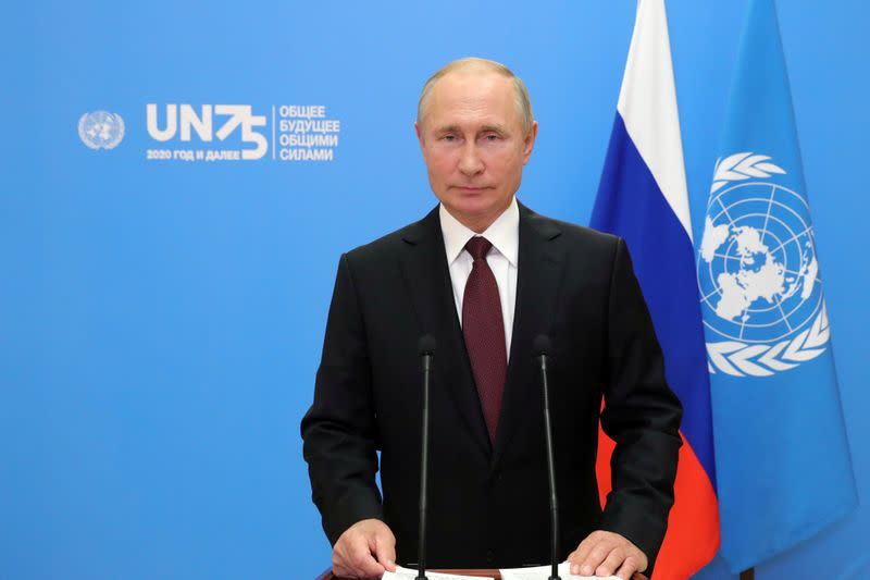 Russia's President Putin addresses the United Nation's General Assembly in Moscow