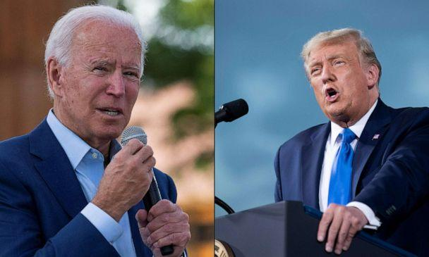 PHOTO: This combination of pictures shows Democratic presidential candidate Joe Biden on Sept. 23, 2020, at Camp North End in Charlotte, N.C., and President Donald Trump during a campaign rally at Cecil Airport in Jacksonville, Fla., on Sept. 24, 2020. (Photos by Jim Watson and Brendan Smialowski / AFP)