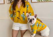 """<p><strong>FitFrenchie</strong></p><p>etsy.com</p><p><strong>$24.99</strong></p><p><a href=""""https://go.redirectingat.com?id=74968X1596630&url=https%3A%2F%2Fwww.etsy.com%2Flisting%2F838347217%2Fmatching-pet-owner-set-for-pets-cat-dog&sref=https%3A%2F%2Fwww.thepioneerwoman.com%2Fhome-lifestyle%2Fpets%2Fg36686499%2Fcute-dog-sweaters%2F"""" rel=""""nofollow noopener"""" target=""""_blank"""" data-ylk=""""slk:Shop Now"""" class=""""link rapid-noclick-resp"""">Shop Now</a></p><p>What could be more paw-some than dressing like your pet? Try it yourself with this adorable sweater set!</p>"""