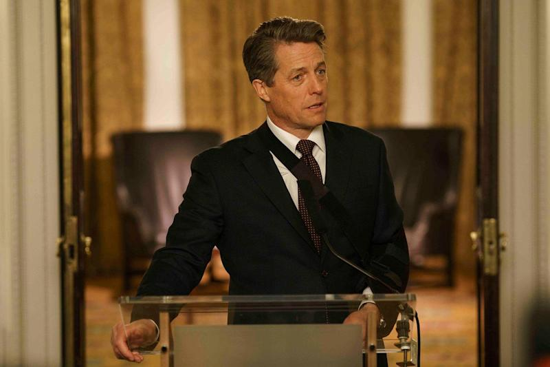 Rousing speech: Hugh Grant's Prime Minister gave a stirring address in Red Nose Day Actually: BBC / Comic Relief / Nick Briggs