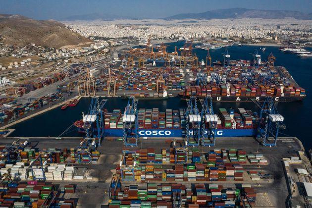 BEIJING, Nov. 13, 2019  -- Aerial photo taken on Sept. 6, 2019 shows a cargo ship of COSCO SHIPPING Lines transporting Italian products to participate in the 2019 China International Import Expo berths at the Port of Piraeus in Greece. (Photo by Lefteris Partsalis/Xinhua via Getty) (Xinhua/Lefteris Partsalis via Getty Images) (Photo: Xinhua News Agency via Getty Images)