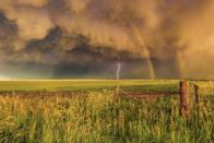 <p>Superior, Nebraska sits just over the border from Kansas and is filled with big, open fields and its a prime spot for storm watching. </p>