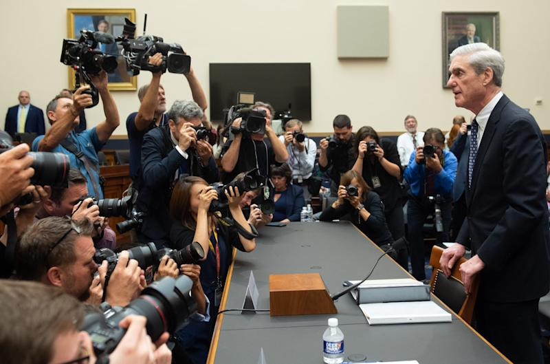 Former Special Counsel Robert Mueller arrives to testify about his Report on the Investigation into Russian Interference in the 2016 Presidential Election during a House Select Committee on Intelligence hearing on Capitol Hill in Washington, DC, July 24, 2019. (Photo by SAUL LOEB / AFP) (Photo credit should read SAUL LOEB/AFP/Getty Images)