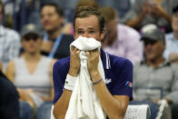 Daniil Medvedev, of Russia, rests between games against Richard Gasquet, of France, during the first round of the US Open tennis championships, Monday, Aug. 30, 2021, in New York. (AP Photo/Elise Amendola)