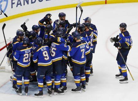 May 21, 2019; St. Louis, MO, USA; The St. Louis Blues celebrate their win over the San Jose Sharks in game six of the Western Conference Final of the 2019 Stanley Cup Playoffs at Enterprise Center. The St. Louis Blues won 5-1. Mandatory Credit: Billy Hurst-USA TODAY Sports