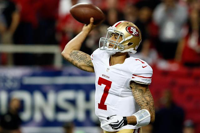 ATLANTA, GA - JANUARY 20: Quarterback Colin Kaepernick #7 of the San Francisco 49ers passes the ball in the second quarter against the Atlanta Falcons in the NFC Championship game at the Georgia Dome on January 20, 2013 in Atlanta, Georgia. (Photo by Kevin C. Cox/Getty Images)