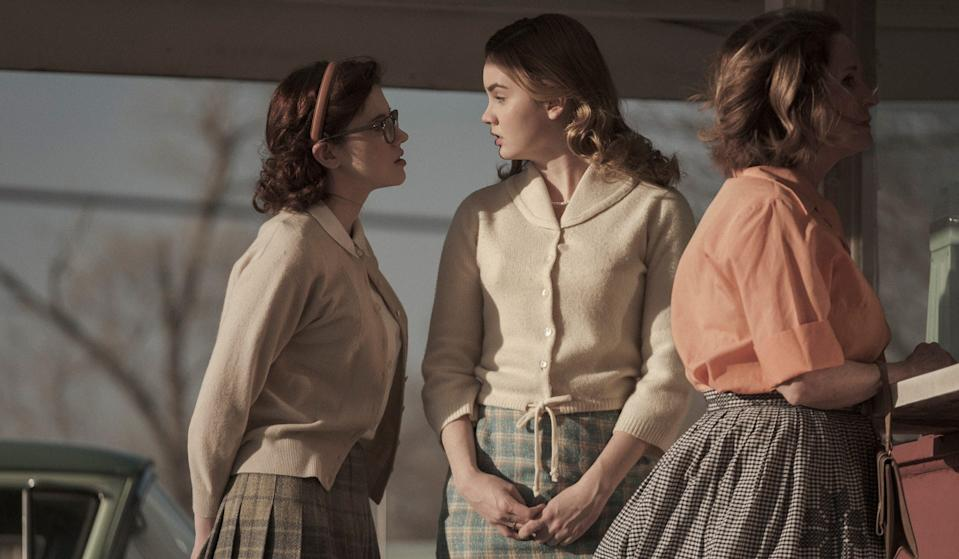 "Oklahoma farm girl Iris (far left, Kara Hayward) is a wallflower until Maggie (Liana Liberato) gets to town in ""To the Stars."""
