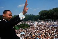 """<p class=""""body-dropcap"""">The <a href=""""https://www.naacp.org/marchonwashington/"""" rel=""""nofollow noopener"""" target=""""_blank"""" data-ylk=""""slk:57th March on Washington"""" class=""""link rapid-noclick-resp"""">57th March on Washington</a> today will look noticeably different than in years past, with required masks, temperature screenings, and a virtual alternative. However, the spirit of equality and shared humanity will remain familiar—and is as important today as ever.</p><p class=""""body-text"""">The first March on Washington for Jobs and Freedom took place on August 28, 1963 and became the embodiment of what a massive demonstration could look like. It is best known as the place Martin Luther King, Jr. delivered his seminal """"I Have a Dream Speech"""" and is considered a key turning point for the civil rights movement, leading to the passage of the Civil Rights Act of 1964. Although no one knew how important the event would be at the time, its leaders, A. Philip Randolph and Bayard Rustin, were savvy to what it would take to make an impact.</p><p class=""""body-text"""">Even though Dr. King had made clear his fundamental commitment to peaceful protest, the authorities, including President John F. Kennedy, were openly concerned that the gathering would become a riot. Randolph and Rustin worked to not only spread the word, but also to generate positive public relations with the government and general public. They collaborated closely with activists like the National Association for the Advancement of Colored People NAACP and many others, including the artistic elite in Harlem, where the March on Washington headquarters were located.</p><p class=""""body-text"""">A key part of their strategy was to enlist the major celebrities in their network, including Josephine Baker, Lena Horne, Sammy Davis Jr., Marlon Brando, and Paul Newman to attend and show support. Musical acts by gospel singer Mahalia Jackson, Joan Baez, and Bob Dylan (Rustin invested heavily in a massive sound system), helped contribute to the """