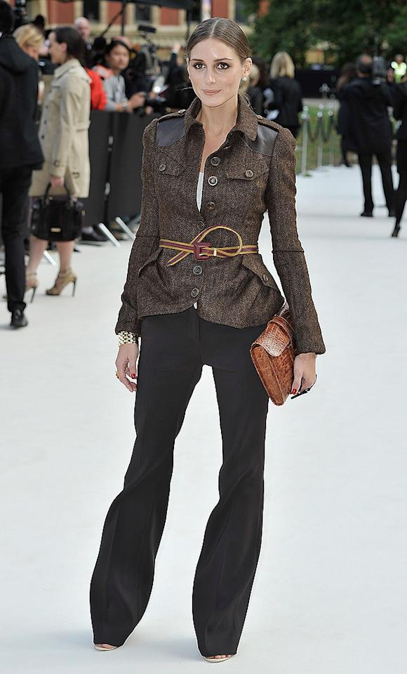 "Here's socialite Olivia Palermo arriving at the Burberry fashion show in London. While we kinda hated her on MTV's ""The City,"" we actually love her these days, especially her taste in clothes. Are you feeling this casual-yet-sharp ensemble as much as we are? C'mon, that belted jacket is amazing! (9/17/2012)<br><br><a target=""_blank"" href=""http://omg.yahoo.com/photos/celebs-on-the-line-with-joe-zee-and-elle-slideshow/"">Stars celebrate Joe Zee</a>"