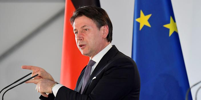 FILE PHOTO: Italian Prime Minister Giuseppe Conte speaks during a news conference with the German Chancellor Angela Merkel after their meeting at the German governmental guest house in Meseberg, outside Berlin, Germany July 13, 2020. Tobias Schwarz/Pool via REUTERS