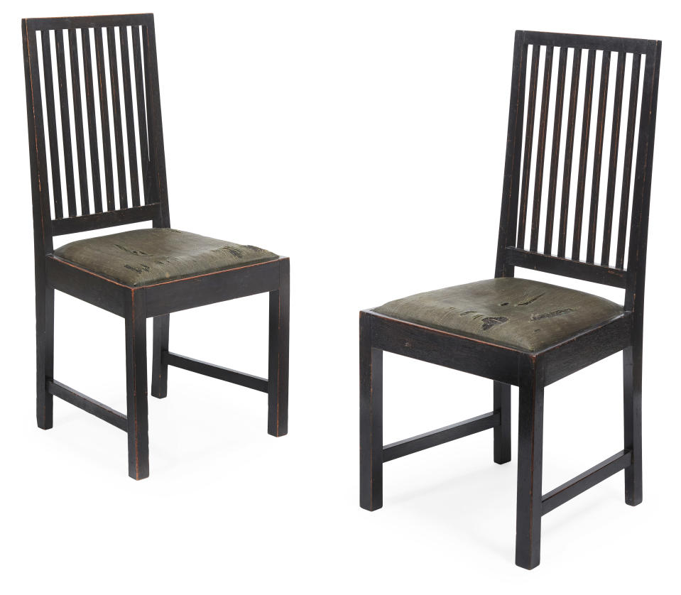 The stained oak dining chairs begin at £15,000 per pair (Lyon and Turnbull/PA)