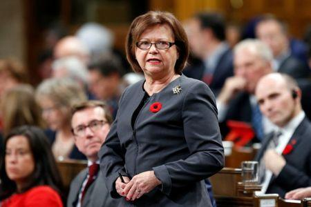 Canada's Public Services and Procurement Minister Judy Foote speaks in the House of Commons in Ottawa