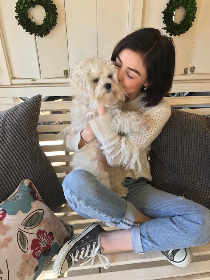 """Actress Lucy Hale spends some quality time with her dogElvis as a part of Cesar® Brand's """"Women's Best Friend Too"""" campaign."""