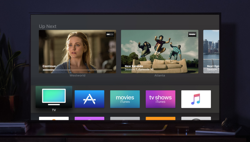 Apple TV interface displayed on a TV
