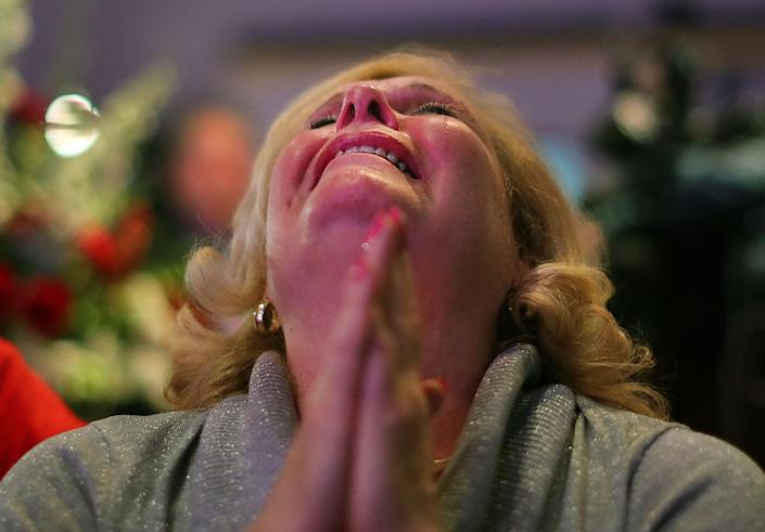 Donald Trump supporter Tina Macneil cries as Florida was won by Trump. (Photo: John Tlumacki/The Boston Globe via Getty Images)