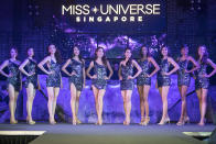 The Top 10 finalists of the 2019 Miss Universe Singapore competing at Zouk.