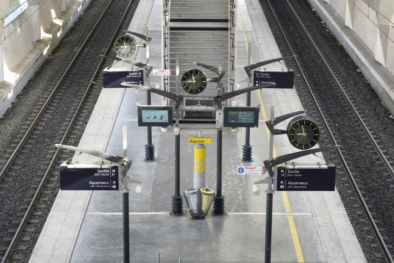 A view of an empty train station at the Lyon Saint-Exupery airport, central France, during the lockdown in an effort to control the spread of coronavirus, Wednesday, April 1, 2020. French citizens are only allowed to leave their homes for necessary activities such as shopping for food, going to work or taking a quick walk due to the rapid spreading of the new coronavirus in the country. (AP Photo/Laurent Cipriani)
