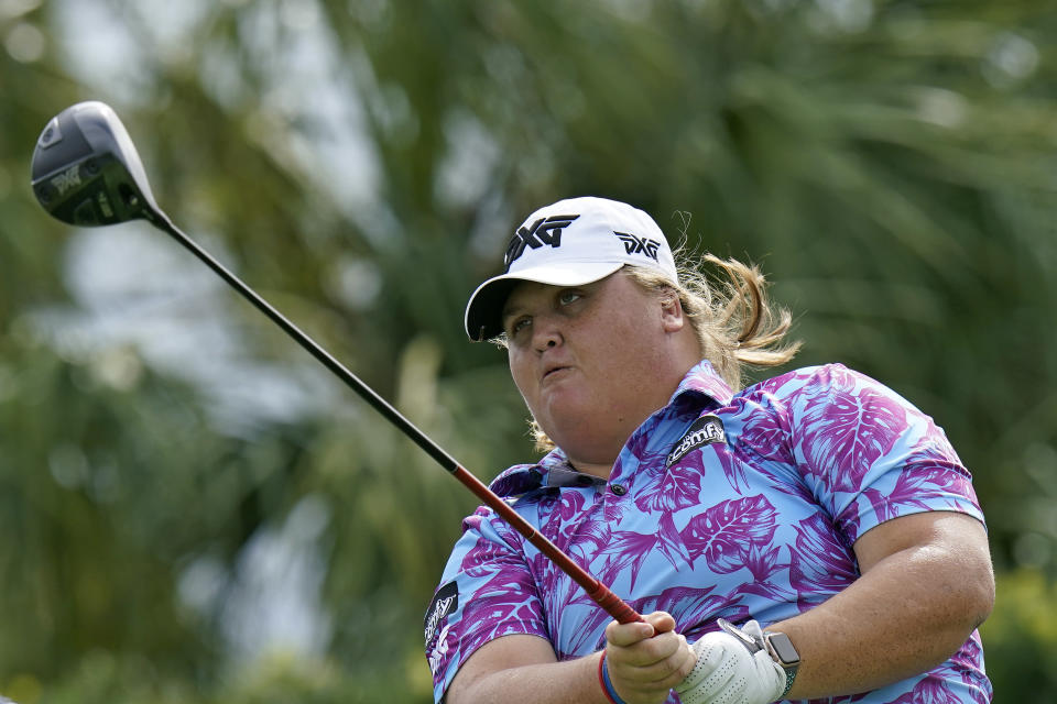 Haley Moore tees off on the first hole during the first round of the LPGA Pelican Women's Championship golf tournament Thursday, Nov. 19, 2020, in Belleair, Fla. (AP Photo/Chris O'Meara)