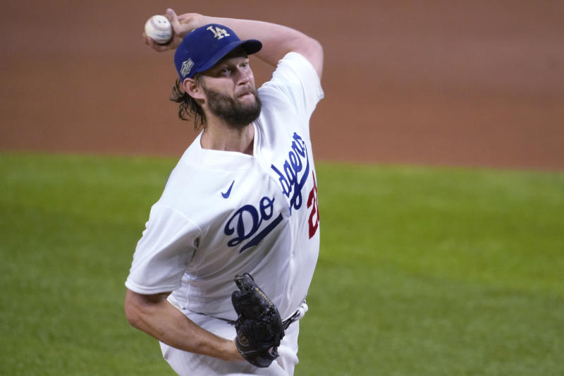 Los Angeles Dodgers starting pitcher Clayton Kershaw delivers against the San Diego Padres during the fifth inning in Game 2 of a baseball National League Division Series Wednesday, Oct. 7, 2020, in Arlington, Texas. (AP Photo/Tony Gutierrez)