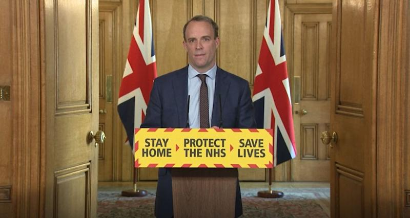 Screen grab of Foreign Secretary Dominic Raab during a media briefing in Downing Street, London, on coronavirus (COVID-19).