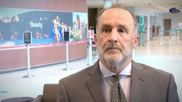 Mike MacKinnon, CEO of the J.A. Douglas McCurdy Sydney Airport, says federal pandemic relief funds will help the airport stay open until airlines return to full flight schedules. (Matthew Moore/CBC - image credit)