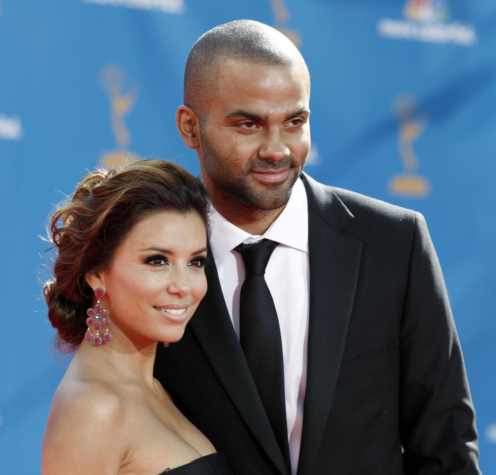 FILE - In this Aug. 29, 2010 file photo, actress Eva Longoria Parker, left, and Tony Parker arrive at the 62nd Primetime Emmy Awards in Los Angeles. Less than four years after a storybook wedding in Paris, Eva Longoria filed court papers Wednesday, Nov. 17, 2010, to divorce basketball star Tony Parker, citing irreconcilable differences.