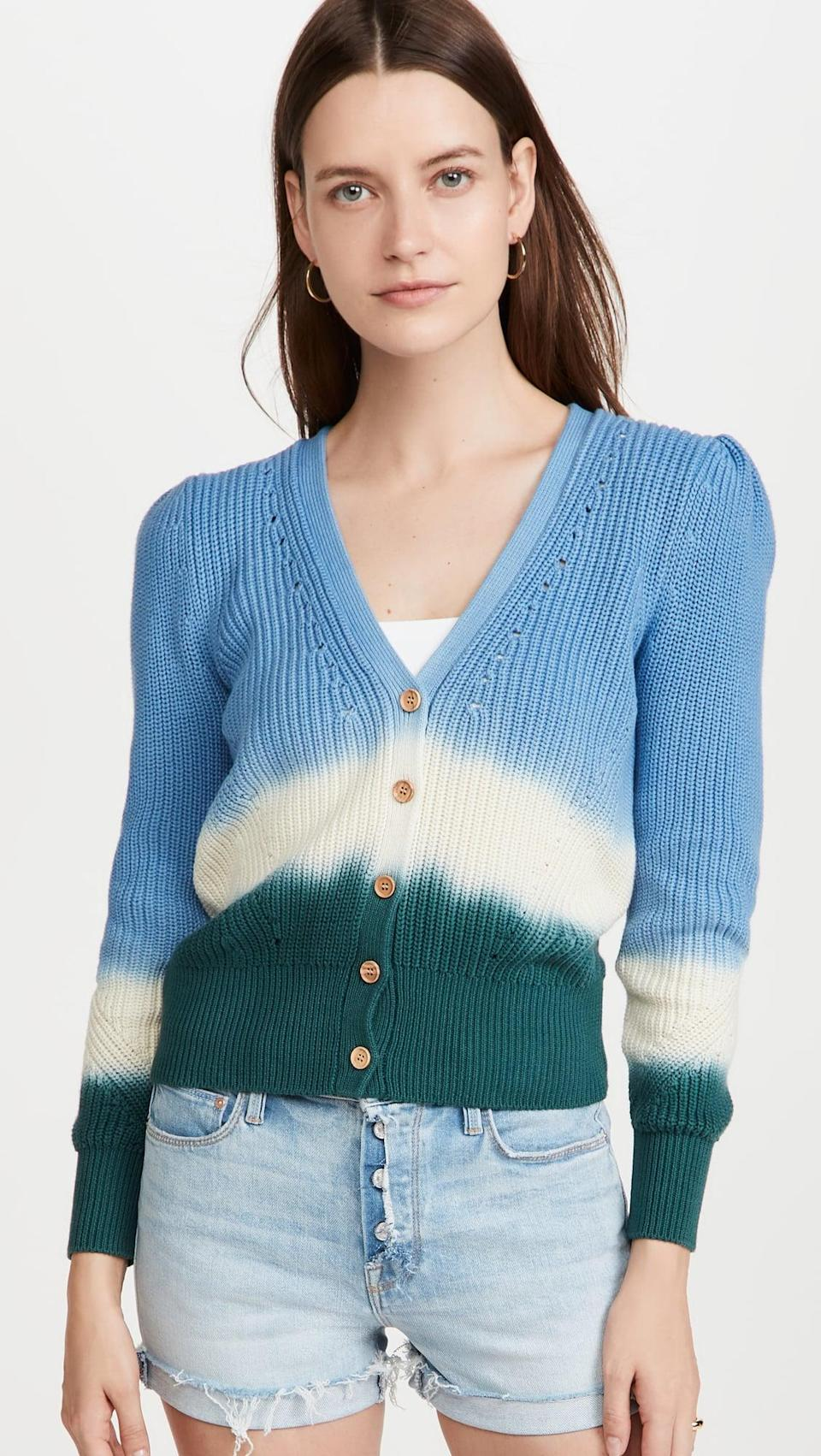 <p>We love the colorblocking on this <span>Veronica Beard Parula Cardigan</span> ($350). Plus, the slightly puffed sleeves are so flattering.</p>