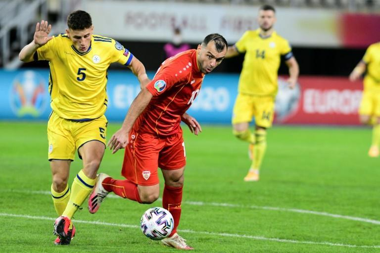 Goran Pandev (R) and North Macedonia face fellow minnows Georgia for a place at the delayed Euro 2020