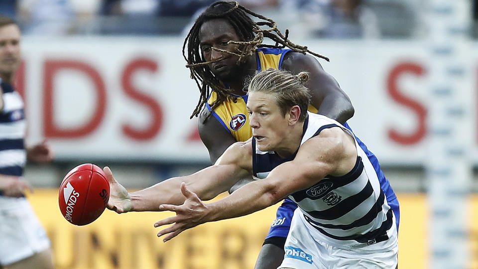 Nic Naitanui's effort against Geelong ruckman Rhys Stanley last weekend has been questioned. (Photo by Daniel Pockett/AFL Photos/via Getty Images)