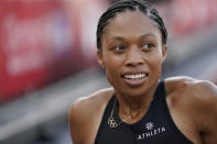 FILE - Allyson Felix reacts to her second place in the women's 400-meter run at the U.S. Olympic Track and Field Trials in Eugene, Ore., in this Sunday, June 20, 2021, file photo. Though frequently scrutinized the way any market leader is, Nike's stranglehold on track and field has been tested over the past few years — if not in a pure dollar-for-dollar sense, then certainly in the way it is perceived by its most fervent followers. Gender equity battles have led to the defection of several high-profile women runners, including nine-time Olympic medal winner Allyson Felix. (AP Photo/Ashley Landis, File)