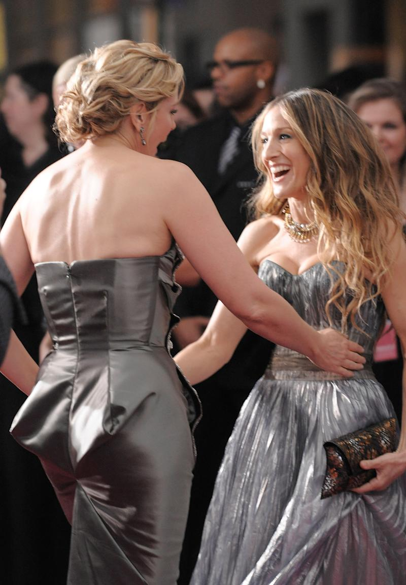 "Actress Kim Cattrall and actress Sarah Jessica Parker attend the premiere of ""Sex and the City"" at Radio City Music Hall on Tuesday, May 27, 2008, in New York. (AP Photo/Evan Agostini)"