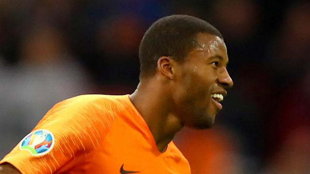 Georginio Wijnaldum scored a hat-trick for Netherlands in their 5-0 Euro 2020 qualifying win over Estonia on Tuesday.