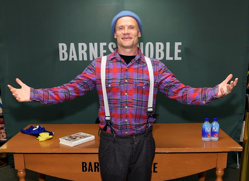 """NEW YORK, NEW YORK - NOVEMBER 05: Flea of the Red Hot Chili Peppers signs copies of his new book """"Acid For The Children"""" at Barnes & Noble, 5th Avenue on November 05, 2019 in New York City. (Photo by Jamie McCarthy/Getty Images)"""
