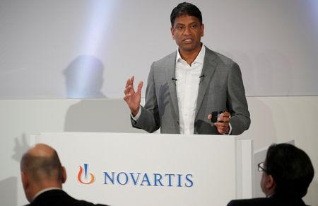 FILE PHOTO: CEO Vas Narasimhan of Swiss drugmaker Novartis addresses the company's annual news conference in Basel, Switzerland January 30, 2019. REUTERS/Arnd Wiegmann/File Photo