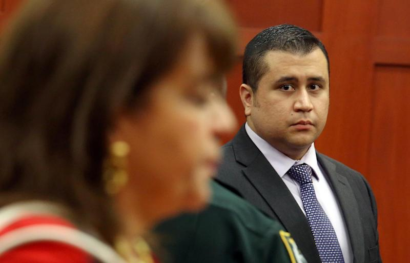 George Zimmerman looks at State Attorney Angela Corey during a recess in his trial at the Seminole County circuit court, in Sanford, Fla., Wednesday, July 3, 2013. Zimmerman is charged with second-degree murder in the fatal shooting of Trayvon Martin, an unarmed teen, in 2012. (AP Photo/Orlando Sentinel, Jacob Langston, Pool)